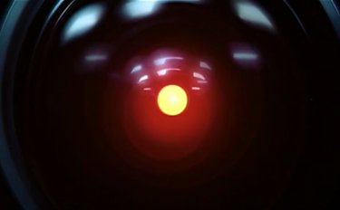 "One of HAL200's glowing red ""eyes""."