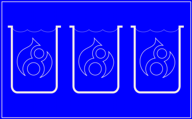 A blueprint-esque diagram of three beakers containing a fluid, each with a Drupal 8 logo floating inside