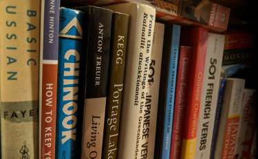 A perspective shot of a shelf of dictionaries and language books