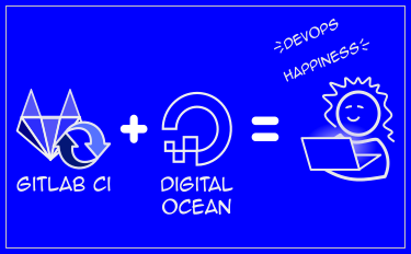 "A blueprint-esque diagram reading ""Gitlab CI + DigitalOcean = Devops Happiness"""