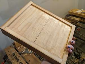 The bottom of the tray, showing the pillowing and the rough sawn middle