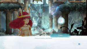 """A screenshot of Child of Light showing a dialog scene between Aurora and Ignilicus, saying """"I have a name, you know"""""""