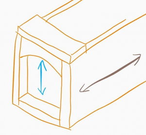 An isometic diagram of the toolbox, with arrows marking the grain directions.