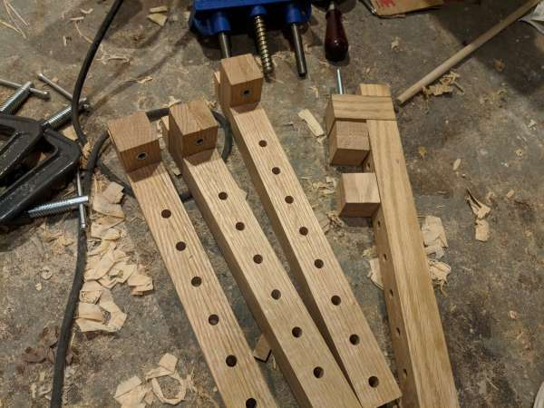 Partially assembled DIY bar clamps