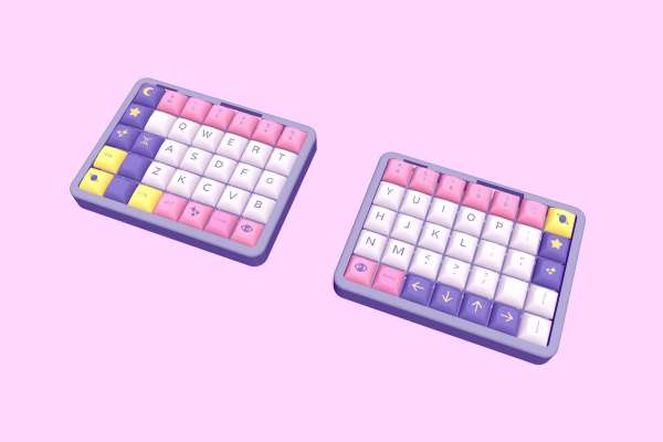 A mockup of the Astrolokeys in a split keyboard arraingment. Mockup by SailorHg.