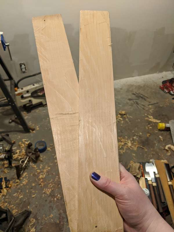 The resawn pieces separated into two.