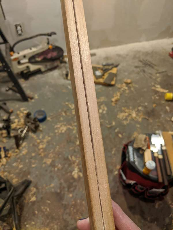 The resawn piece shown edge on, with the tracking kerf visable.