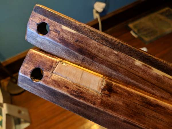 The left side of the winding sticks, showing inlays