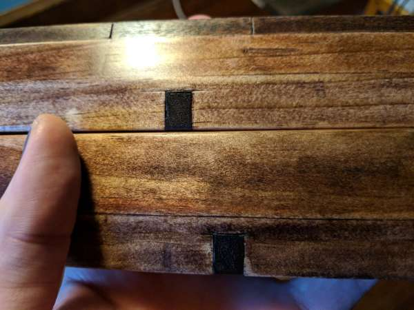 A close up of the centering inlay of the winding sticks