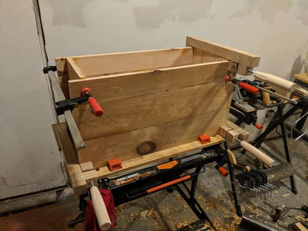 The toolbox clamped together for gluing, viewed from the front.