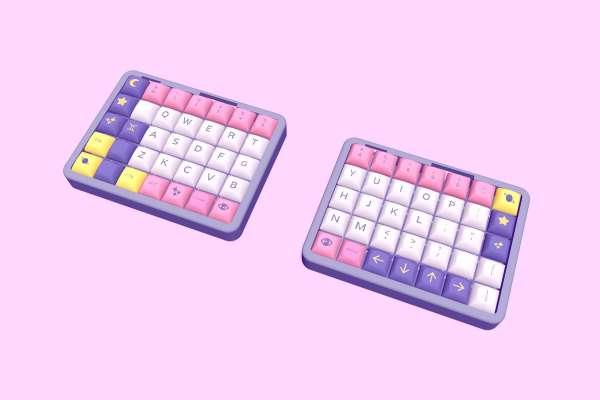 A mockup of the Astrolokeys in a split keyboard arraingment. Mockup by SailorHg.