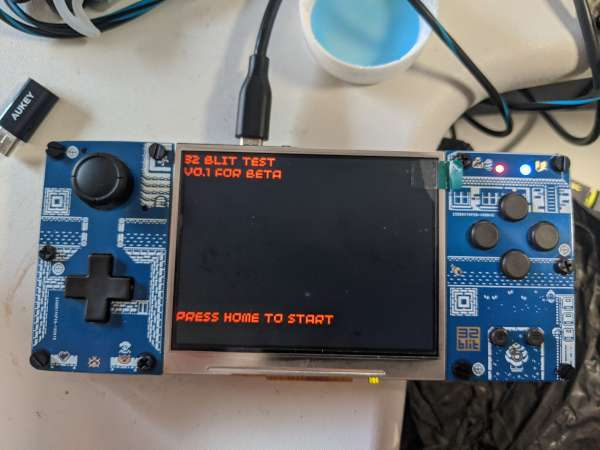 The 32Blit powered up out of the box, a default firmware has been loaded