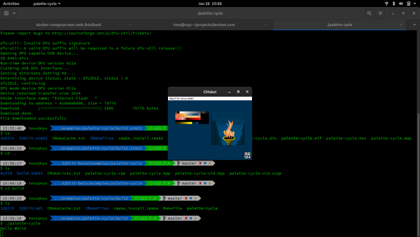 A screenshot of the palette-cycle example running via SDL on a laptop