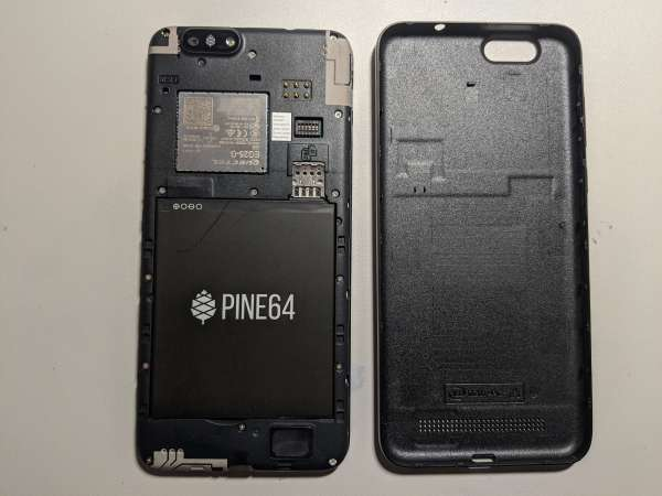 The PinePhone with the back lid removed