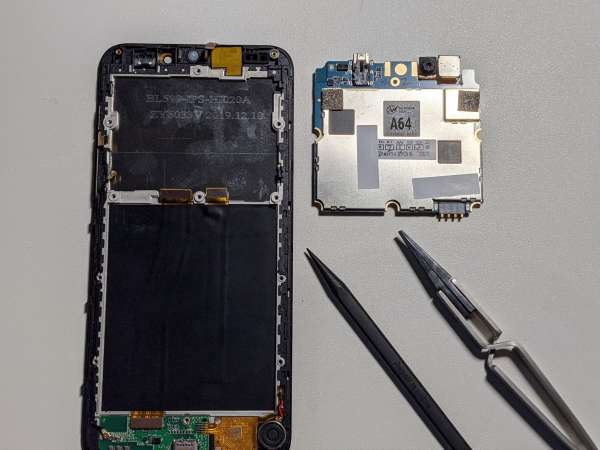 The screen assembly and the mainboard, now separated