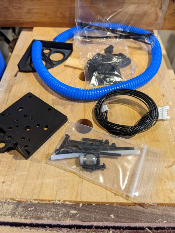 The Printermods MDD kit parts laid out on a workbench